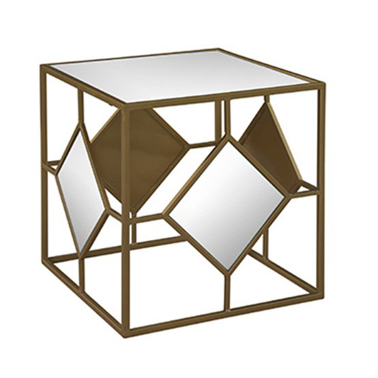 Oro Mirrored Cube - Mirrored cube end table