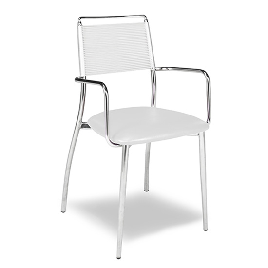 Silk Back Chair - White - With Arms
