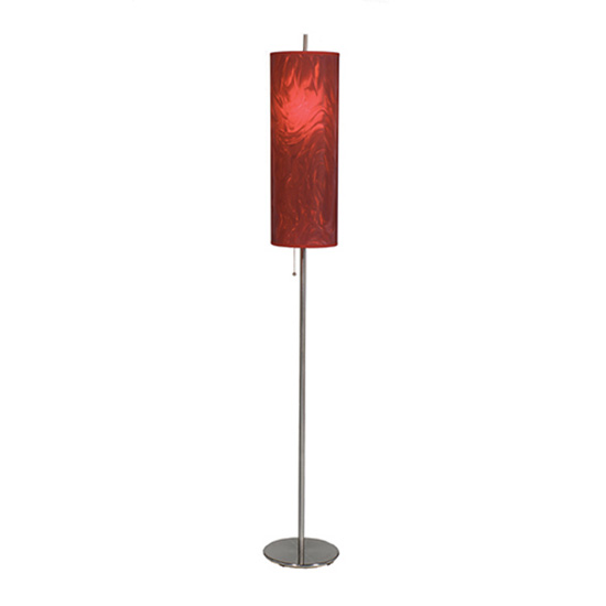 Brushed Steel Floor Lamp - Red Shade