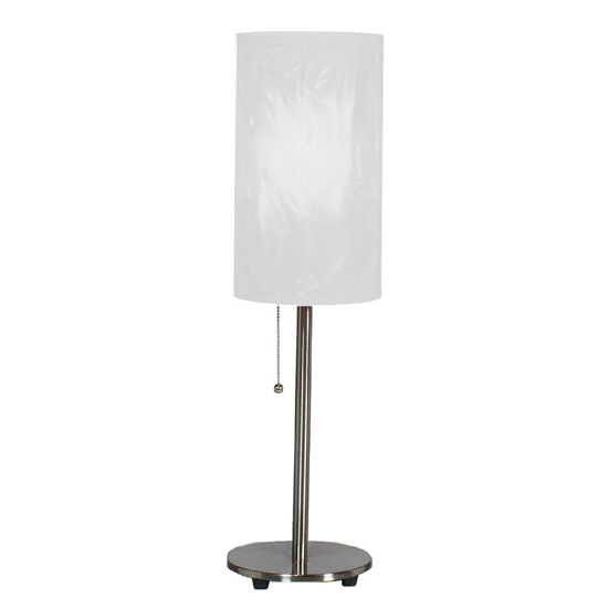 Brushed Steel Table Lamp - White Shade